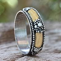 Gold accent band ring, 'Royal Temple' - Bali's traditional silver granules cluster on a band of dark oxidized silver. Accents bathed in 18k gold enhance the beauty of this ring from Komang Wijayana.