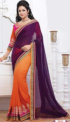 Indian Designer Purple Georgette Designer Saree