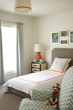 Diane Bergeron Interiors - Fun blue & orange boy's bedroom with Premier Prints ZigZag ...