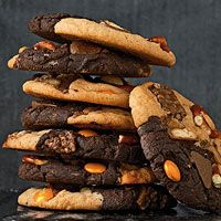 Monster cookies: these addictive cookies are filled with bits of assorted  candy bars and pretzels