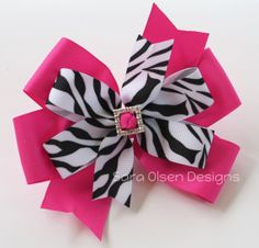 Extra Large 5Inch Stacked Pinwheel Hairbow Bow by SaraOlsenDesigns