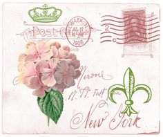 Vintage postcard with hydrangea,postmarks,crown Vintage Labels, Vintage Ephemera, Vintage Postcards, Decoupage Vintage, Vintage Crafts, Vintage Pictures, Vintage Images, Paris Vintage, Envelope Art