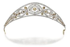 Diamond And Colored Diamond Tiara Mounted In Gold And Platinum    c.1910