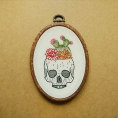 Cactus and Succulent Skull Planter Pot Hand Embroidery Hoop Art (plant embroidery wall hanging) (flower and skull tattoo patch) by ALIFERA on Etsy