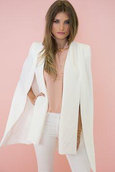 Alyssa Cape Blazer - Ivory