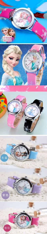 2016 New Cartoon Children Watch Fashion Kids Cute Princess Anna Watches Leather Quartz Wristwatches Reloj Mujer Christmas Gift $4.03