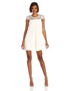 BCBGeneration Womens Lace Trim Trapeze Dress Whisper White XSmall -- Visit the image link more details.(This is an Amazon affiliate link)