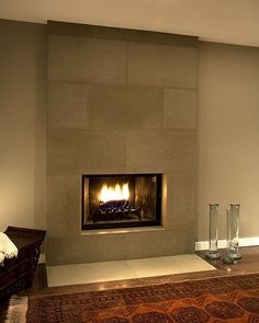 Cast Concrete Tiled Fireplace in Portobello Interesting modern look and if you can stain the concrete any color...possibilities