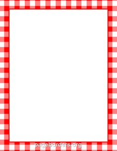 Printable menu border with a red and white gingham pattern. Free GIF, JPG, PDF, and PNG downloads at http://pageborders.org/download/menu-border/