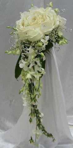 modern twist to a cascade bouquet, composite flower with dendrobium cascade.