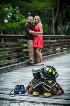 Our Firefighter and Nurse shot for our engagement pictures <3