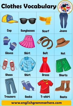 Clothes Names, Clothes Vocabulary in English and Example Sentences - English Grammar Here English Activities For Kids, English Grammar For Kids, Learning English For Kids, English Lessons For Kids, Kids English, English Vocabulary Words, Learn English Words, English Language Learning, Teaching English