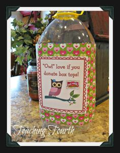 Turn an apple juice jug into a cute container to collect Box Tops!