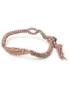 chan luu rose gold feather friendship bracelet