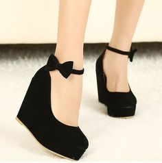 New Sexy Lady Red Black Bow High Heels Womens Shoes Wedges Fashion Womens Pumps free shipping $27.99
