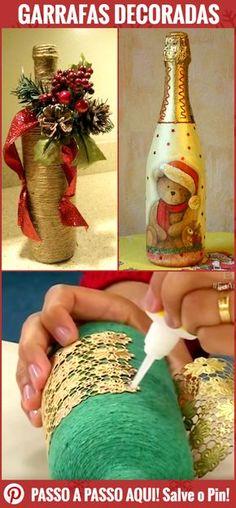 Garrafas Decoradas para o Natal. É cada uma mais linda que a outra! Trouxemos lindas Garrafas Decoradas para o Natal para você se inspirar e fazer também em casa. #natal #enfeites #garrafas #diy #decoupage #natalino #comofazer #ideias #garrafadecorada #decorargarrafas #artesanato