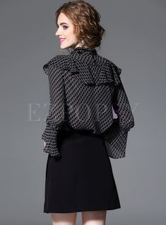 Shop Black Print Falbala Flare Sleeve Blouse at EZPOPSY. Dress Outfits, Fashion Dresses, Classy Work Outfits, Black Blouse, Geisha, Black Print, Kurti, Fashion Online, Stylists