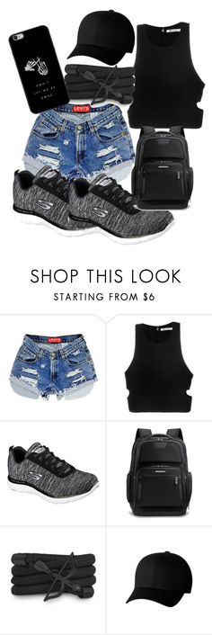 """""""Just because"""" by xtinevillafuerte ❤ liked on Polyvore featuring T By Alexander Wang, Skechers, Briggs & Riley, Monza and Flexfit"""