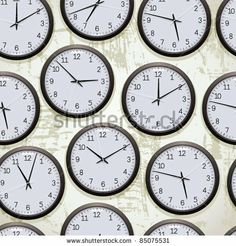 Watches seamless pattern, clocks on the wall showing different time, vector background. by Goldenarts, via Shutterstock