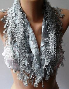Grey  Elegance  Shawl / Scarf with Lacy Edge by womann on Etsy