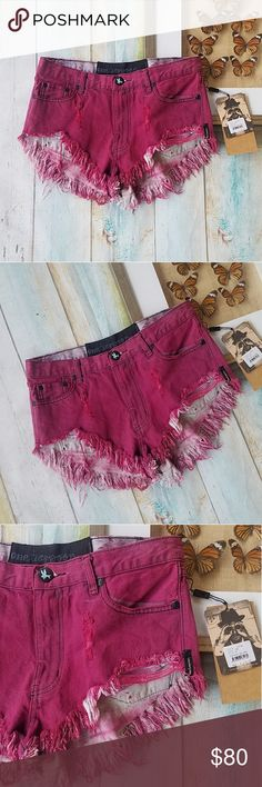 NWT One Teaspoon Pink Sprayed Roller Cutoff Shorts A rocker style for sure! Bold pink denim with distressed cutoff hem. Cheeky length. Made by One Teaspoon, size 25. Style name is 'Sprayed Rollers' new with tags and in good condition. Retails for $120 One Teaspoon Shorts Jean Shorts