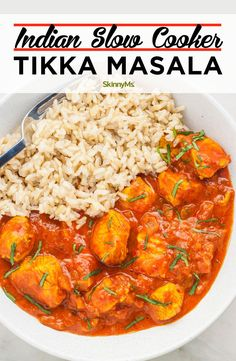 For this Chicken Tikka Masala Slow Cooker Recipe, use lean chicken breasts because it's a low-fat, healthy protein. After cooking for hours at a low heat, the chicken is juicy and fall-apart tender. Slow Cooker Tikka Masala, Slow Cooker Recipes, Cooking Recipes, Healthy Recipes, Healthy Food, Cooking Kale, Crockpot Ideas, Fast Recipes, Healthy Chicken