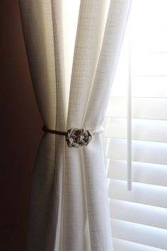 Rustic and nautical natural cotton thread curtain tie back off white tie back