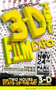 Indie 3D Film Festival poster in anaglyph by Ryan Colditz