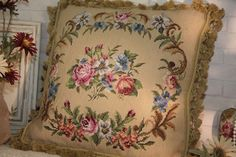 """18"""" So So Beautiful Country Chic Shabby Handcrafted Needlepoint Pillow Cushion by needlepointonline on Etsy"""