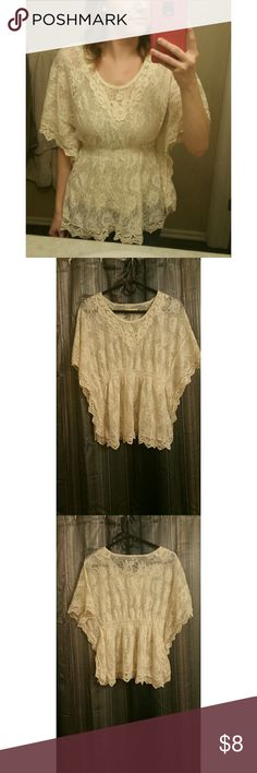 """Hippie Sheer Top! This top is a cream color with lace throughout. It reminds me of music festivals, hence the name """"Hippie Sheer Top!"""" This top is so much fun to twirl and dance in! Size S. Forever 21 Tops"""