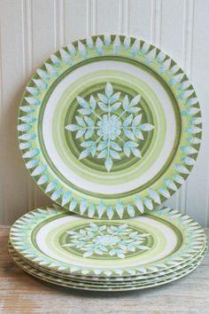 Melamine Plates set of 6, Vintage Melmac, Green Blue, retro dishes, dinnerware, aqua blue, celery green