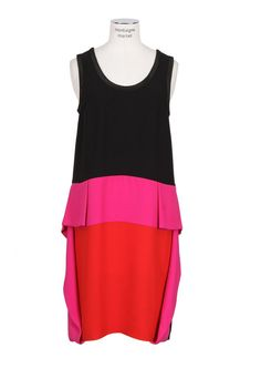 Color Blocked Flared Details Silk Dress