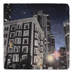under-dish photograph of city building the trivet - home gifts ideas decor special unique custom individual customized individualized