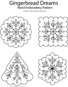 embroidery designs patterns Gingerbread Dreams Hand Embroidery Patterns - From Santa and snow to trees and stars, get ready for holiday stitching with these 10 free Christmas hand embroidery patterns. Embroidery Designs, Embroidery Transfers, Embroidery Fabric, Hand Embroidery Patterns, Vintage Embroidery, Cross Stitch Embroidery, Embroidery Sampler, Machine Embroidery, Snowflake Embroidery