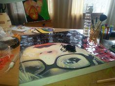 hey that's me!  Beaded portrait in progress.  Barbara Lash