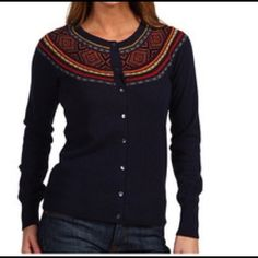 LUCKY BRAND Navajo Beaded Cardigan Beautiful navy colored Lucky Brand cardigan with Aztec print and beaded design around neck and shoulders. 79% wool, 21% cotton. Excellent condition. Lucky Brand Jackets & Coats