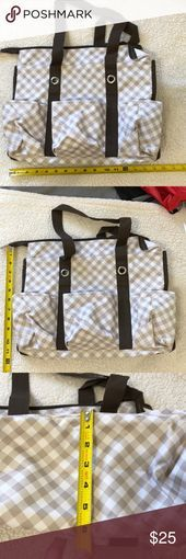 NEW Thirty one zip top Organizing Utility tote shoulder bag 31 in Taupe Gingham