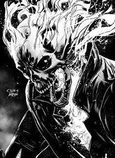 Inktober: Ghost Rider, Caanan White on ArtStation at https://www.artstation.com/artwork/lylYV