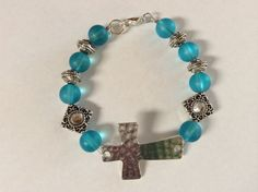 Frosted TURQUOISE Glass Bead Silver Sideway CROSS by DESIGNBYMONNY, $15.00
