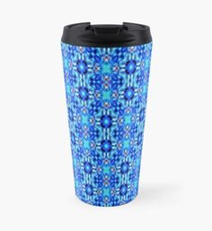 Repetitive Pattern in Blue Travel Mug Travel Mug, Mugs, Pattern, Blue, Design, Patterns, Mug, Model