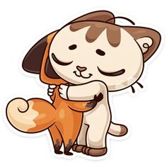 Fuchs Illustration, Fox Drawing, Anime Animals, Hug Me, Hello Kitty, Kawaii, Stickers, Cartoon, Drawings