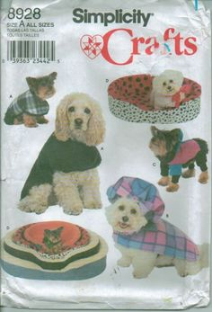 Oop Dog Pet Accessories Clothes Beds Costumes Simplicity Sewing Pattern