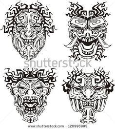 stock-vector-aztec-monster-totem-masks-set-of-black-and-white-vector-illustrations-120998995.jpg (419×470)