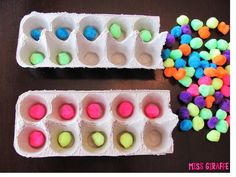 Make ten frames by recycling egg cartons and SO MANY GREAT cheap and easy math ideas - Building Number Sense in First Grade