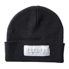 Designer Label   Black Beanie - Hat -  - Puppies Make Me Happy