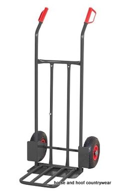 GPC Heavy Duty Steel Sack Truck with Folding Toe Fully welded strong and robust Heavy duty industrial hammerite finish with 250mm pneumatic tryed wheels.