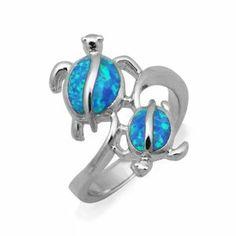 Twin Hawaiian Turtle Honu Silver Ring with Blue Opal