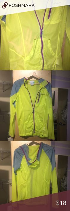 Incredibly unique sheer sport jacket Size small sheer hooded, zip up Columbia jacket with purple trim Columbia Jackets & Coats