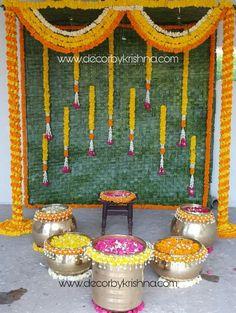 Decor by Krishna AP/ Telangana/ Karnataka/ Tamilnadu/ USA/Australia Wedding Backdrop Design, Desi Wedding Decor, Wedding Stage Decorations, Backdrop Decorations, Backdrops, Housewarming Decorations, Traditional Wedding Decor, Marriage Decoration, Background Decoration