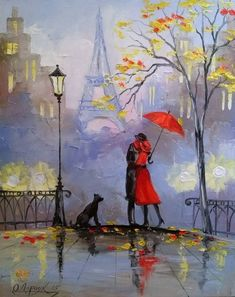 Rainy day in Paris painting, couple with red umbrella and dog, Autumn trees. Bridge Painting, Rain Painting, Couple Painting, Art And Illustration, Umbrella Art, Fine Art, Watercolor Paintings, Modern Art, Drawings